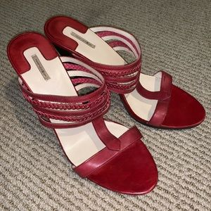 Max studio red leather heels excellent condition!